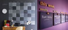 26 chalkboard / blackboard decoration ideas. Love the classy office blackboards set up by days of the week!