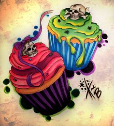 Cupecake tattoo.  This would be cute to do for my kids