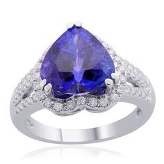 ILIANA 18K White Gold Tanzanite (3A Graded | 4.25 cts.) and Diamond Heart Ring | Liquidation Channel