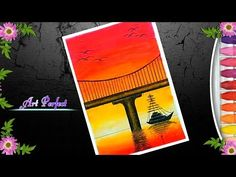 A sunset scenery of river ship and bridge with oil pastel step by step Oil Pastel Paintings, Oil Pastel Art, Oil Pastel Drawings, Abstract Drawings, Nature Paintings, Oil Pastels, Horse Paintings, Landscape Paintings, Watercolor Paintings