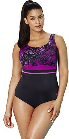 dbc805a64cbd6 Aquabelle Women's Berry Palm Empire Swimsuit >>> Don't get left behind, see  this great product : Plus size swimwear