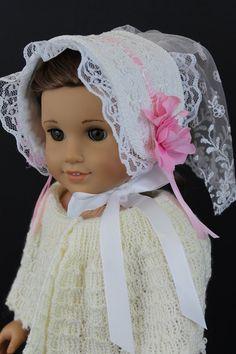 NO DOLL VINTAGE 2 Pc LOT SET BLUE /& WHITE FLORAL DOLL DRESS /& BONNET HAT FLOWERS