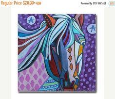 50% Off Today- Horse art Tile Ceramic Coaster Mexican Folk Art Print of painting by Heather Galler