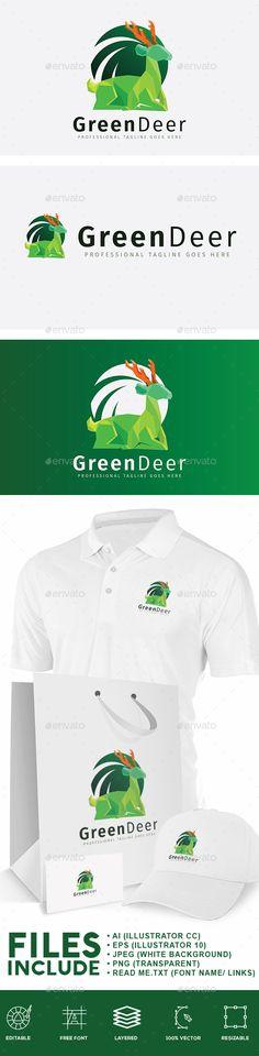 Green Deer Logo - Animals Logo Templates