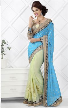 Delightful Blue and Lemon Color Embroidered Saree