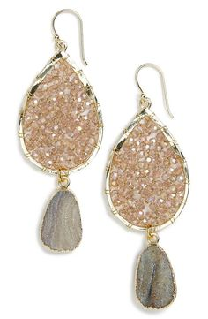neutral smoky agate drop earrings with sparkling beads