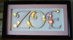Lighted Custom Butterflies and Flowers Framed Name Sign (Great Nightlight) - Can apply any design and color scheme