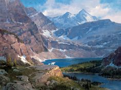 Sentinels of Hidden Lake: Landscape and wildlife art giclee print reproduction on canvas of Glacier National Park with mountain goats by Jim Wilcox..