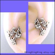 2 Flower Art Nouveau ear cuff earrings in antiqued