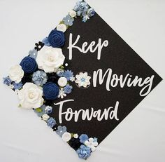 Diy Graduation Cap Discover Keep Moving Forward Graduation Topper and Decoration. Flower and Glitter Graduation Cap Decoration. Customize colors and saying Funny Graduation Caps, Custom Graduation Caps, Graduation Cap Toppers, Graduation Cap Designs, Graduation Cap Decoration, Graduation Diy, Graduation Pictures, Decorated Graduation Caps, Graduation Sayings