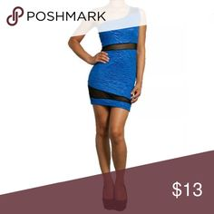 ✨ Blue Floral Embossed One Shoulder Dress You'll find this unique dress sexy and different with it's rose embossed pattern within the material. The material has a slight glossy sheen to it. Sexy one shoulder style. See thru black mesh accents a few diagonal areas of the dress on the front and backside. Stretches for a body hugging fit. Short mini lenth.  Made of: 92% Polyester & 8% Spandex Dresses One Shoulder