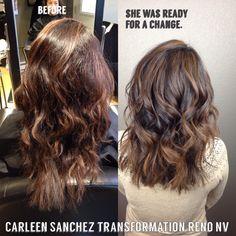 Balayage Brunette Makeover by Carleen Sanchez Hair artist Reno,NV
