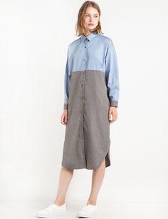 Tweed-Cotton-Shirt-Midi-Dress-
