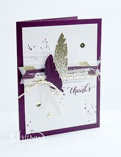 Four Feathers stamp set and Blackberry Bliss and Gold combination!