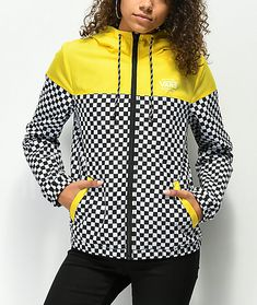 Vans Kastle II Yellow   Checkerboard Windbreaker Jacket 1a1e64b2e