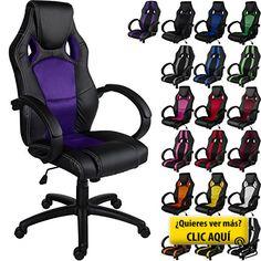 RACEMASTER® 'GS Series' - Silla de escritorio de Racing - Mecanismo de inclinación y elevación - Ideal para videojuegos - Homolación SGS - Disponible en 20 colores - silla de oficina púrpura #silla #ordenador