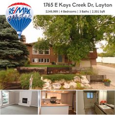 *NEW LISTING*  1765 E Kays Creek Dr, Layton $249,999 | 4 Bedrooms | 3  Baths | 2,331 Sqft  New laminate flooring, refinished white cabinetry, stainless appliances in updated kitchen. Fresh paint. Tile on bathroom floors and granite countertops in bathrooms. AC is new, Shingles on Mtn side only a year old. Large oversized garage with room for utility trailer on RV pad. Must see this one before you choose! No neighbors behind you--secluded, private!