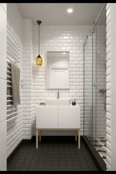 Baño White Tile Bathroomsbathroom