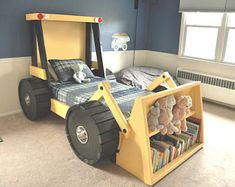 How cool?! Construction Truck Bed PLANS (in digital format) - For a DIY Construction Themed Room - Kid Bedroom Decor
