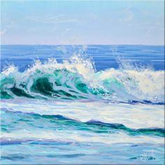 Ocean Wave 14 acrylic on panel original painting. ©2016 PJ Cook