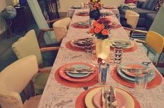 Thanksgiving tablescape and mismatched dining room chairs. Fiestaware just makes for the best place settings...