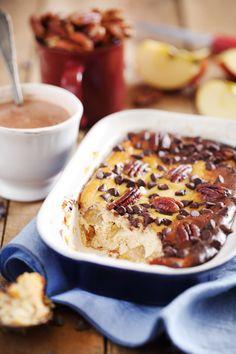 Gâteau à la ricotta, pomme, chocolat et pécan