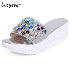 512f197e0 Fashion Sandals For Lady Shoes Slipper Rhinestone High Wedge Sexy Flip Flops  Open Toe Platform Summer Shoes Outdoor Beach Sandal