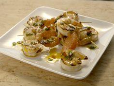 Shrimp and Grapefruit Skewers Recipe : Giada De Laurentiis : Food Network Skewer Recipes, Shrimp Recipes, Fish Recipes, Appetizer Recipes, Appetizer Party, Yummy Appetizers, Meat Recipes, Dinner Recipes, Giada In Italy Recipes