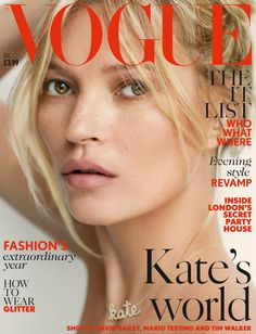 Kate Moss on the cover of Vogue UK, December 2014.