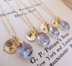 Bridesmaid necklace....possible to go with the earrings...dark blue stone and silver chain/charms