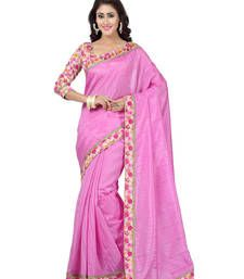 Buy pink plain art silk saree with blouses saree with blouse art-silk-saree online