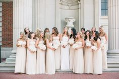 Pretty in cream! Bridesmaids dresses available at Bella Bridesmaid. Flowers by Stems of Dallas. Photo by Jess Barfield Photography. #wedding #bridesmaids #cream