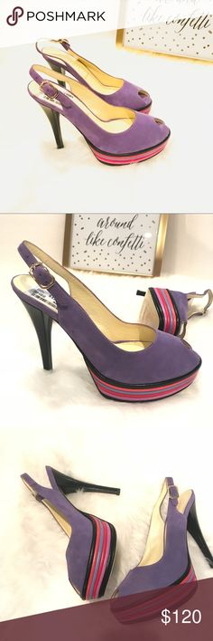 """Bruno Magli Leather Open Toe Shoes Heels Platform Bruno Magli Leather Open Toe Shoes Heels Platforms slingback Buckle closure originally $335 sale price $129.00 New with Tags made in Italy Purple Suede tan insole purple red black Platform 5"""" heel 1.5"""" Platform.  Stunning #1 Bruno Magli Shoes Platforms"""