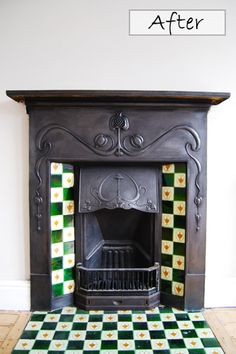 Restored Cast Iron Fireplace in our Bedroom.   Check out our before pictures here: http://www.littlehouseonthecorner.com/restoring-an-original-cast-iron-fireplace/
