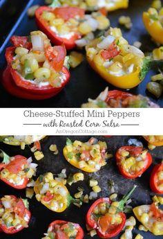 Paleo Cheese-stuffed mini peppers with roasted corn salsa #healthyrecipe