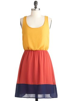 Swatch and Learn Dress - Multi, Orange, Yellow, Blue, Casual, A-line, Tank top (2 thick straps), Mid-length, Colorblocking, Holiday Sale