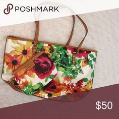 Brand new Nine West bag w matching wallet Leather floral amazingness. Inner pockets and divider.. Tags still w bag. Nine West Bags Shoulder Bags