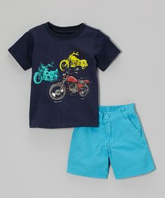 Love this Navy Motorcycle Tee & Blue Shorts - Toddler & Boys by BOYZ WEAR on #zulily! #zulilyfinds