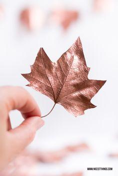 DIY-Anleitung für eine herbstliche Deko-Girlande aus Blättern und Sprühfarbe in Kupfer