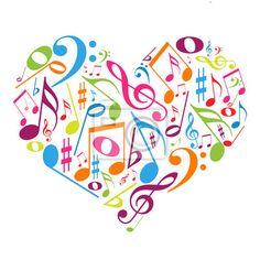 Sticker Coração colorido com notas musicais - gosto pela música