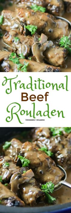 Traditional Beef Rouladen Recipe by Noshing With The Nolands is delicious comfort food for Sunday Supper or any weeknight. You will be wanting to serve this year round! Use xantham gum instead of flour Rouladen Recipe, Beef Rouladen, German Rouladen, Meat Recipes, Dinner Recipes, Cooking Recipes, Sirloin Recipes, Beef Sirloin, Fondue Recipes
