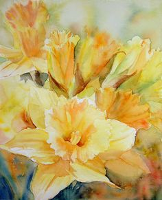 Daffodil painting watercolour