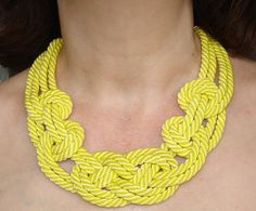 FREE SHIPPING. Yellow sailor knot necklace.