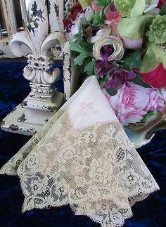 Lavish Antique Bridal Lace Handkerchief Silk Center Wedding Heirloom | eBay Vintageblessings