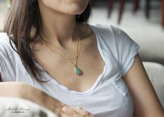 Aventurine+Goldplated+Necklace+by+MichelleMilward+on+Etsy,+$43.50