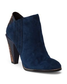 L.A.M.B: Suede High Heel Ankle Booties