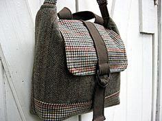 Messenger bag laptop travel satchel brown teal and by LilyWhitepad, $142.00