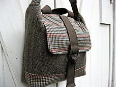 Upcycled messenger bag - Mens suiting