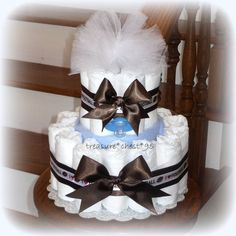 Football Diaper Cake For Baby Shower Boy Blue Brown Game Ideas Centerpiece Idea