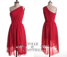 Boho style pink colored one shoulder layered short prom dress by TulleandChantilly, $108.00